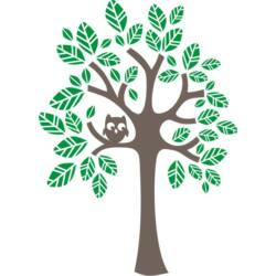 Falmatrica, faltetoválás - Bagolyka a fán, 94 x 130 cm