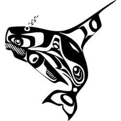 Falmatrica / faltetoválás - Cápa tribal 46x50 cm