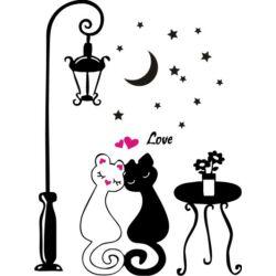 Falmatrica, faltetoválás - Szerelmes macskák, 46 x 61 cm