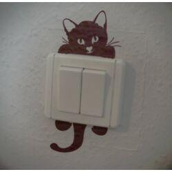 Falmatrica - villanykapcsolón kapaszkodó macska
