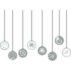 Üvegdekoráció - karácsonyfadíszek (8 db, 11 cm-es átmérővel) - homokfúvott