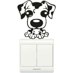 Falmatrica, faltetoválás - Villanykapcsoló kutya, 8x8 cm