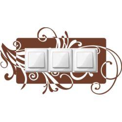 Falmatrica, faltetoválás - Villanykapcsoló szárak, tripla, 40 x 22 cm
